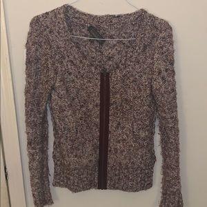 Purple knit zipper cardigan